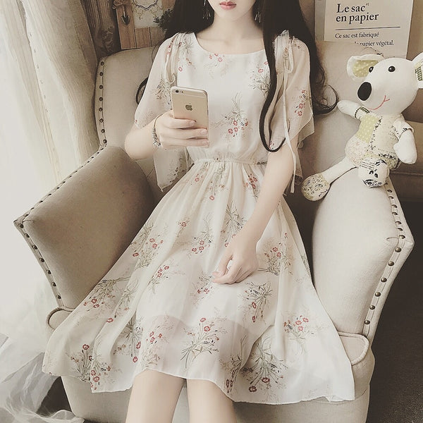 Casual Mori Girl Floral Chiffon Dress