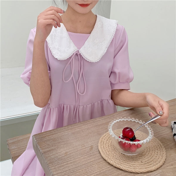 Lavender Pastel Aesthetic Short Sleeve Sweet Loose Kawaii Dress