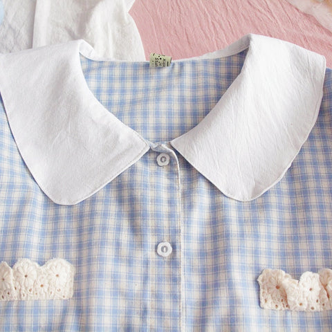 Pastel Kawaii Plaid Vintage Style Shirt
