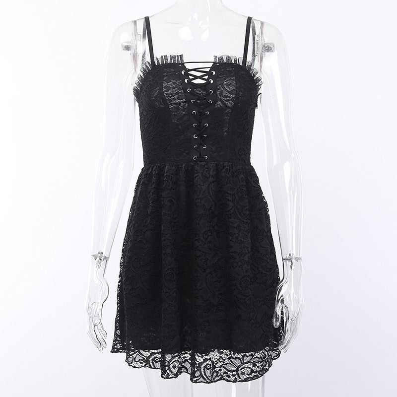 Gothic Lace Dark Lolita Lace-up Mini Dress
