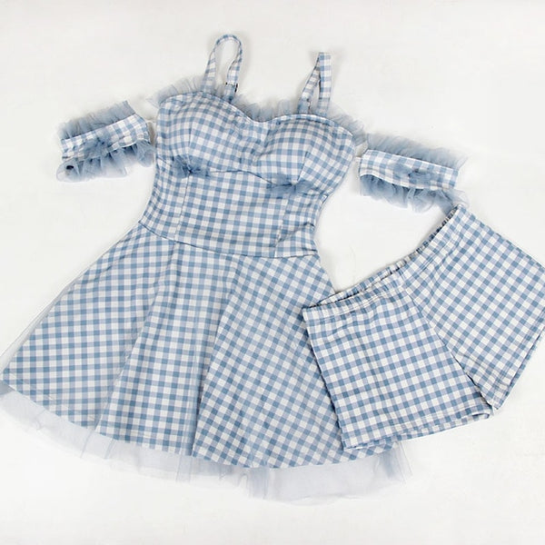 Faye Watersky 2-piece Plaid Gingham Off-Shoulder Swimsuit Set