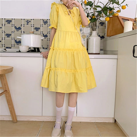 Daffodil Short Sleeve Kawaii Dolly Ruffle Dress