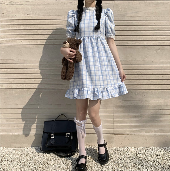 Nelly Vintage-Style Kawaii Dolly Plaid Blue Rayon Nymphet Dress