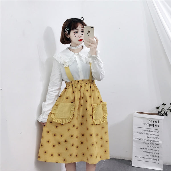 Sunflower🌻High Waist Pinafore Lolita Skirt