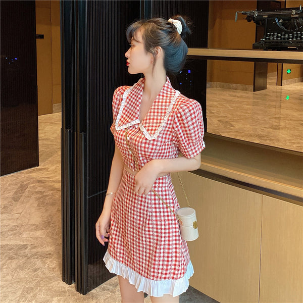 Lizzy 2-piece Plaid Red Gingham Nymphet Set