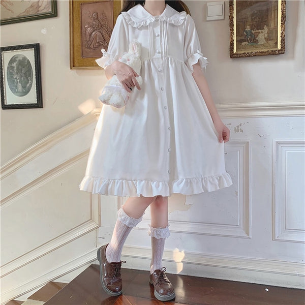 White Blossom Kawaii Princess Lolita Ruffle Dolly Girl Dress