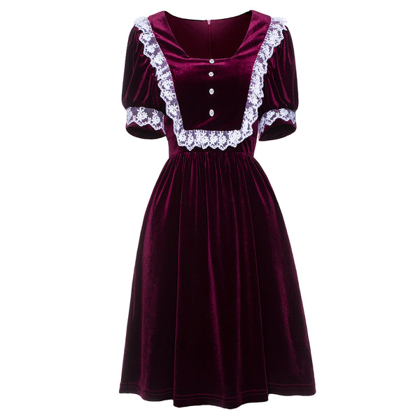 Velvet Burgundy Gothic Dark Lolita Babydoll Dress