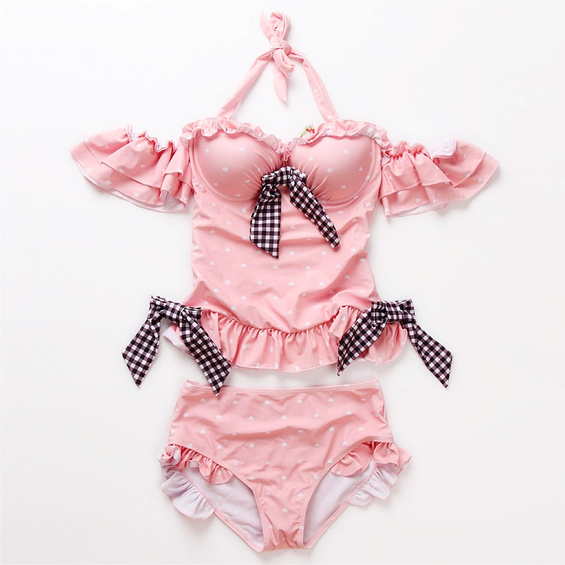 Plaid Kawaii Ruffle Off-Shoulder One Piece Lolita Swimsuit