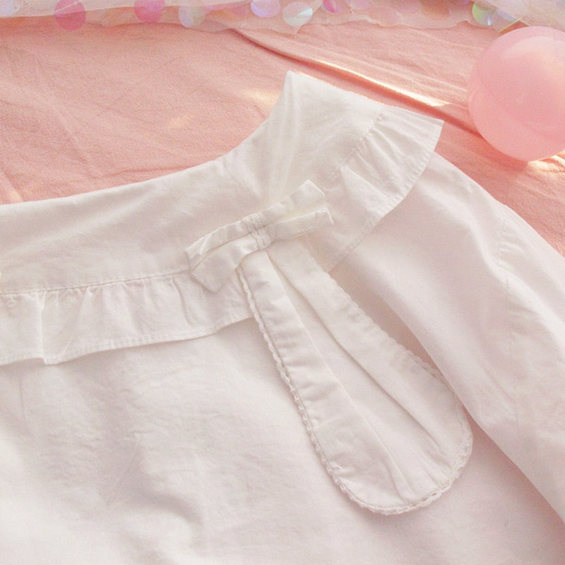 Kawaii Lolita White Cotton Shirt with Bunny Ears Peter Pan Collar