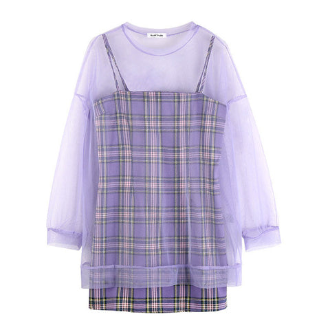 Purple Clouds 2-Piece 90s Style Set Plaid Mini Dress + Sheer Top