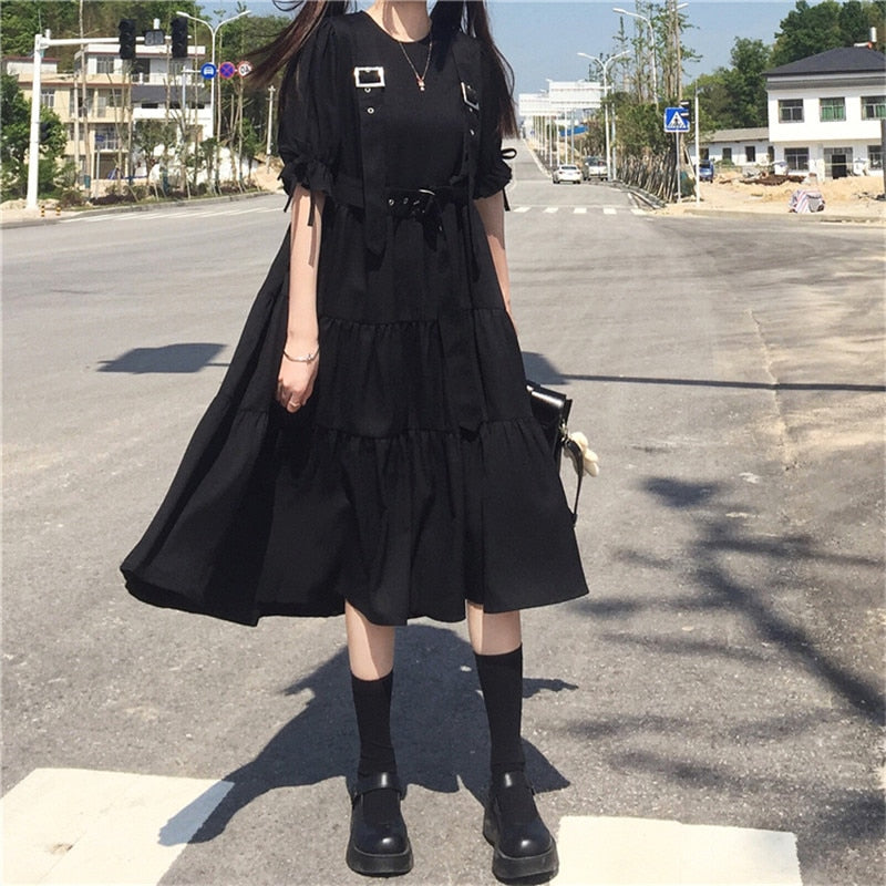 Dark Lolita Gothic Midi Dress with Suspender Belt