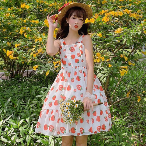 Strawberry Mori Girl Kawaii Dolly Chiffon Dress