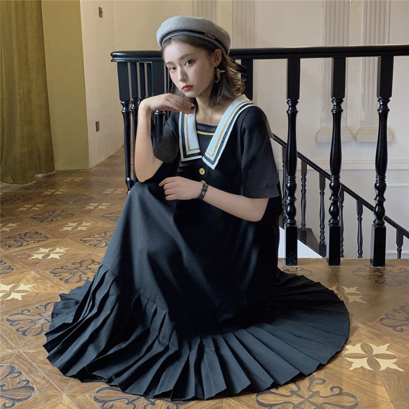 Dark Lolita Gothic Sailor Pleated Midi Dress with Sailor Collar