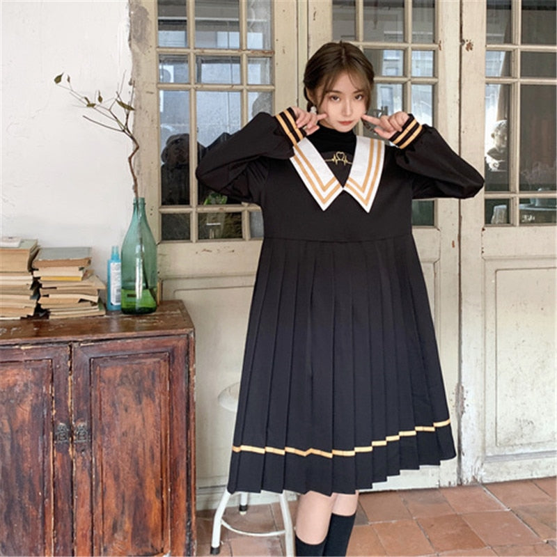 Dark Lolita Gothic Sailor Collar Black Embroidered Pleated Dress