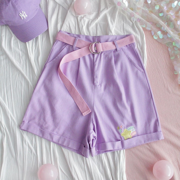 Kawaii Pastel Aesthetic Purple High Waist Shorts With Belt