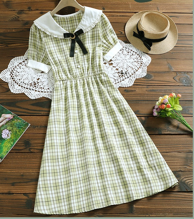 Selenia Mori Girl Plaid Vintage-style Midi Dress