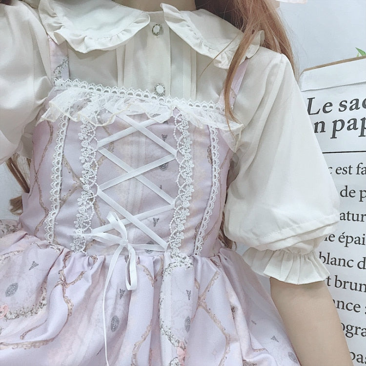 Kawaii Lolita Peter Pan Collar Short Sleeve Ruffle Blouse