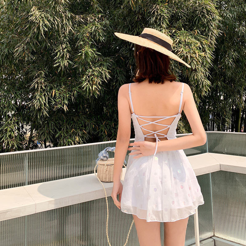 White Holographic Aesthetic One Piece Swimsuit Bathing Suit