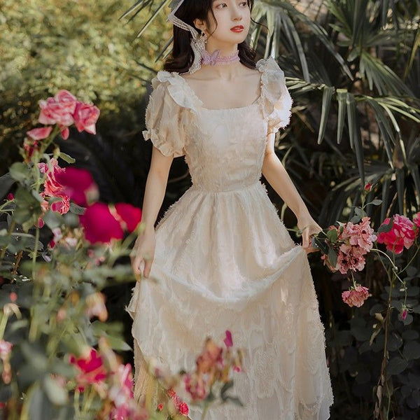 Vintage Princess Lace Embroidered Maxi Fairy Dress