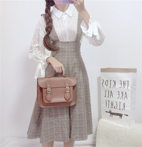 Johanna Plaid Vintage-Style Pinafore Dress