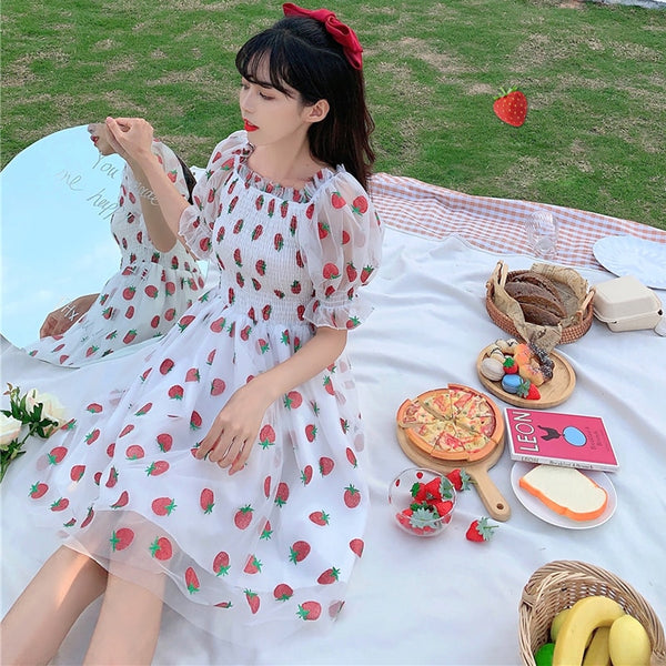 Sweet Strawberry Embellished Fairy Dress