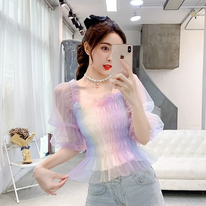 Rainbow Kawaii Princess Chiffon Blouse