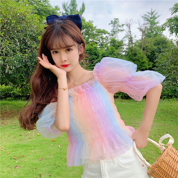 Rainbow Pastel Kawaii Aesthetic Princess Crop Top