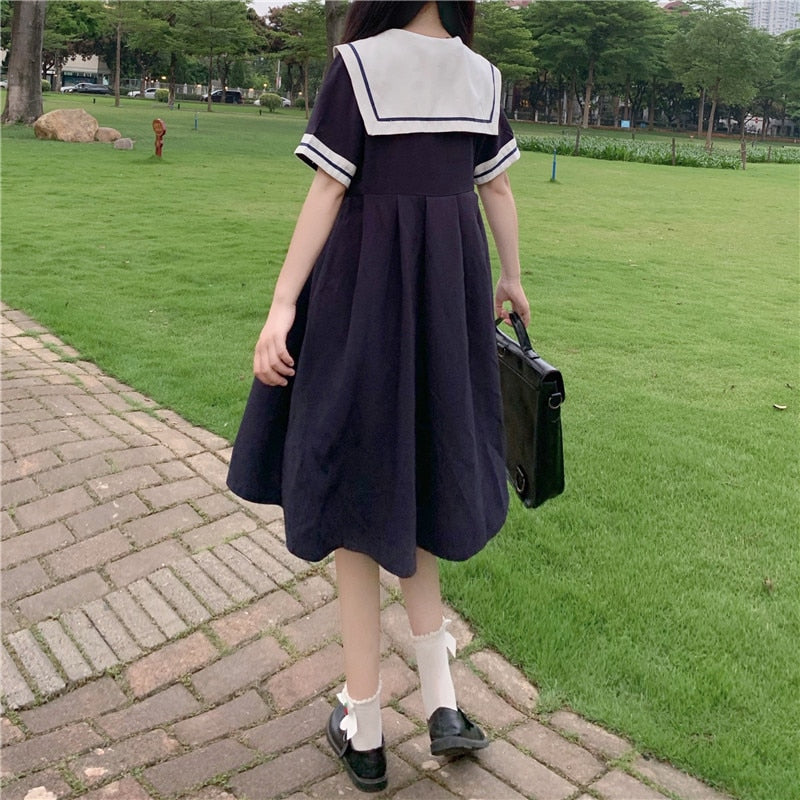 Kawaii Sailor High Waist Jfashion Cosplay Dress