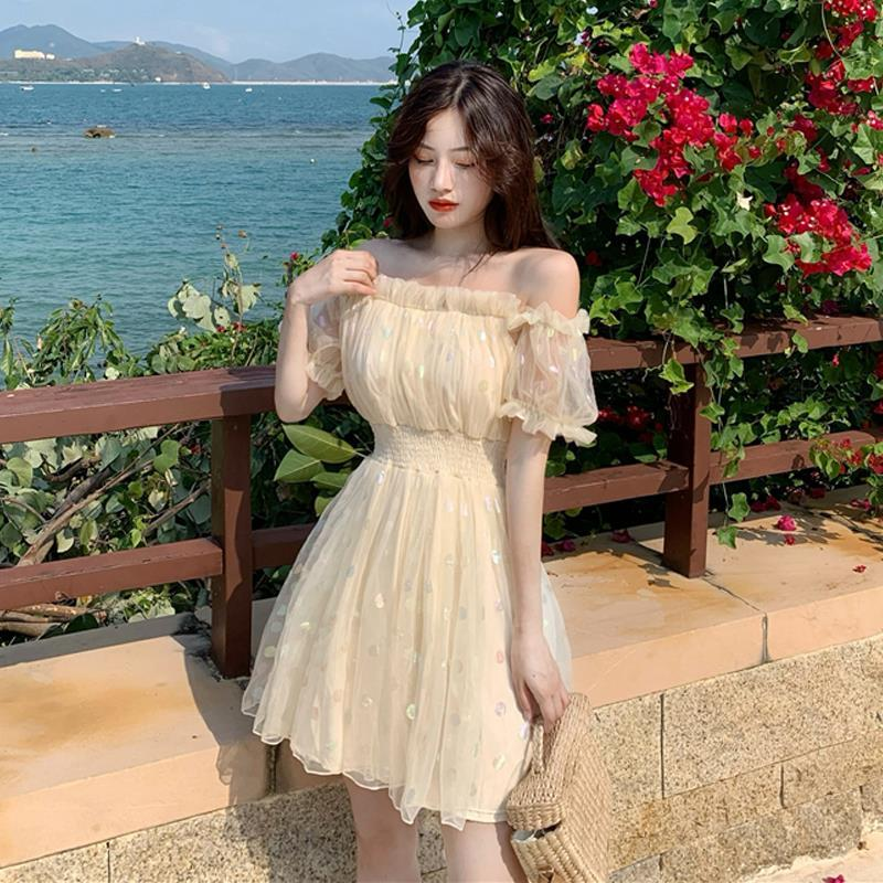 Gem Glow Lace Fairy Off-the-Shoulder Chiffon Mini Dress