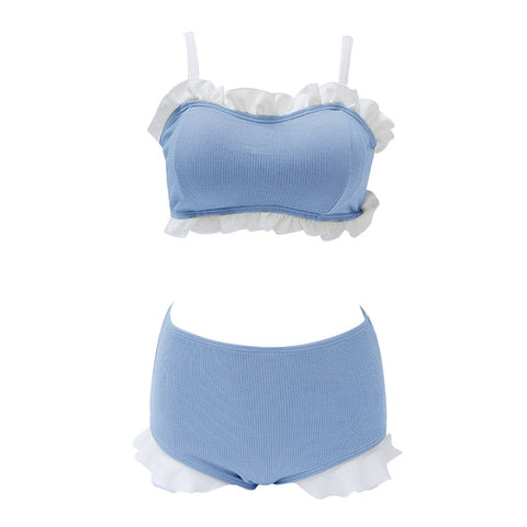 2-Piece Ruffle Nymphet Lolita Swimsuit Bikini Set