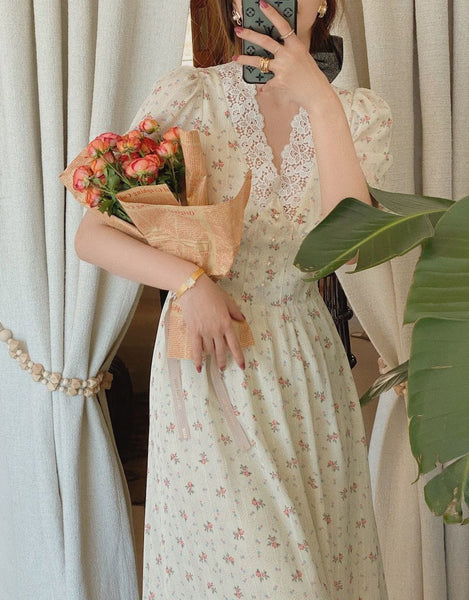Floral Vintage Aesthetic Cottagecore Summer Dress
