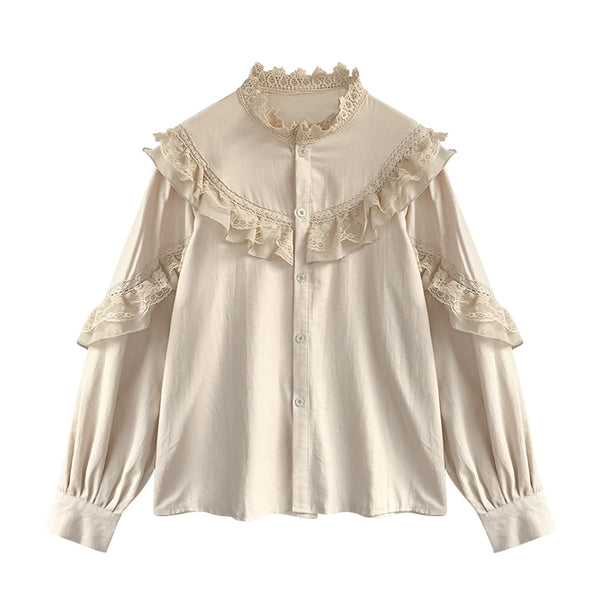 Beige Vintage Victorian Style Lace Decorated Shirt