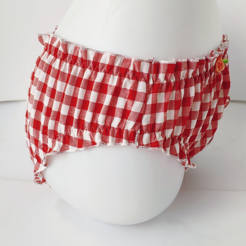 2-piece Plaid Gingham Dolly Nymphet Lolita Lingerie Set