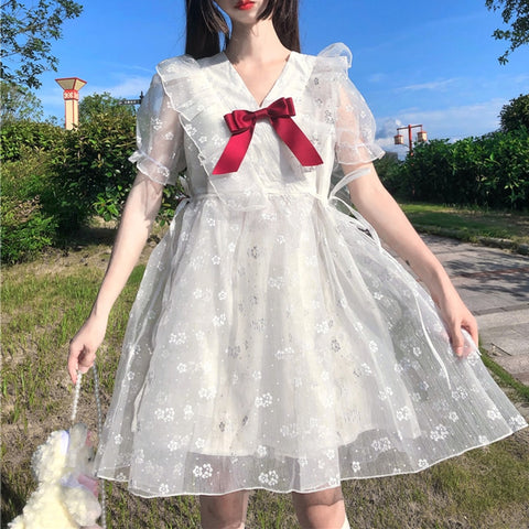 Floral Lace Kawaii Princess Lolita Fairy Dress with Bow