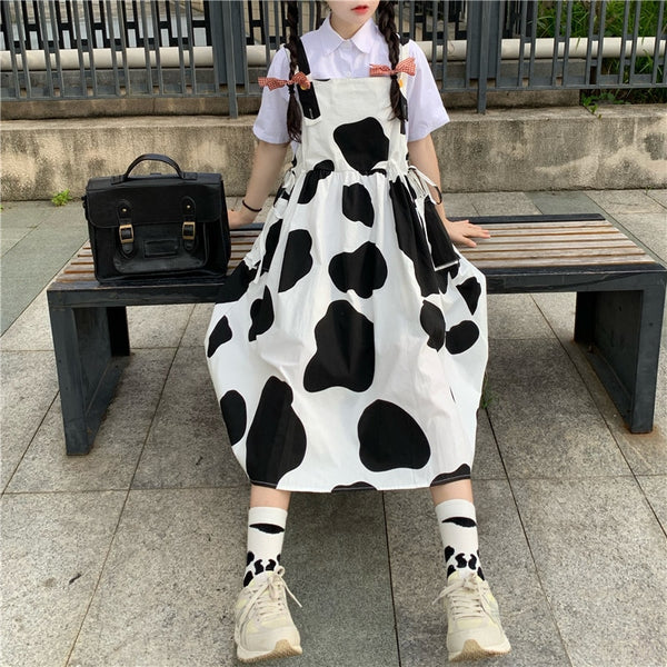 Cow Print Kawaii Harajuku Pinafore Dress