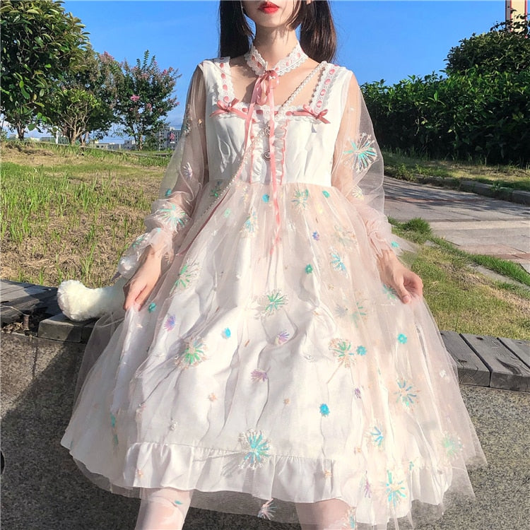 Tea Party Floral Embroidery Kawaii Princess Lolita Dress