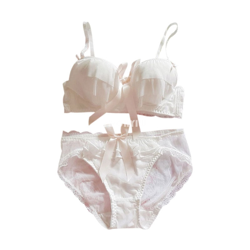 2-piece White Chiffon Nymphet Lolita Underwear Lingerie Set