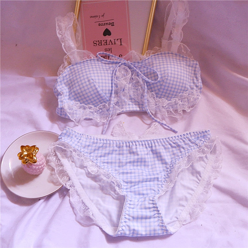 Plaid Kawaii 2-piece Lace Lolita Nymphet Lingerie Set
