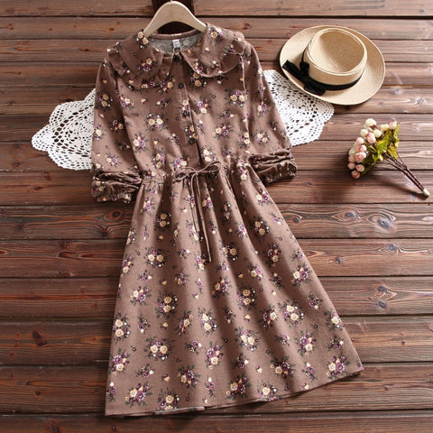 Cottagecore Fall Mori Girl Floral Cotton Winter Dress