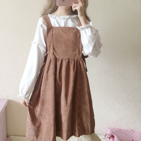 Pastel Kawaii Corduroy Pinafore Dolly Dress