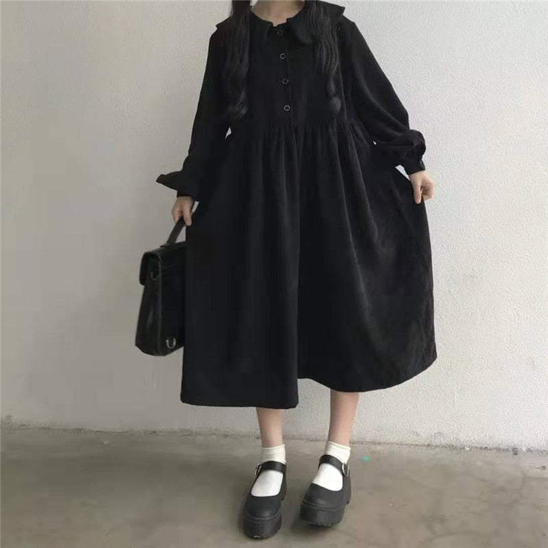 FoggyNight Black Corduroy Peter Pan Collar Loose Midi Dress