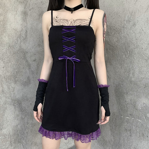 3-Piece Lace Gothic Aesthetic Mini Dress