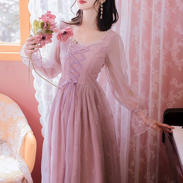 Misty Grace Romantic Vintage-Style Lace Fairy Dress