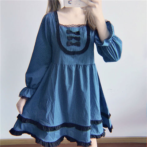 Stella Dark Lolita Long Sleeve Plaid Bow Dolly Dress