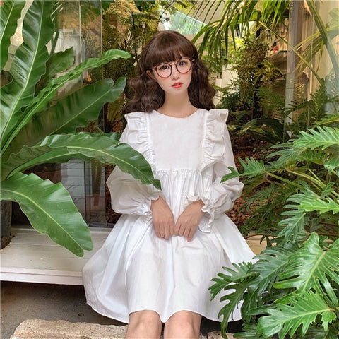 Clavelina Casual Mori Girl Kawaii Ruffle Dress
