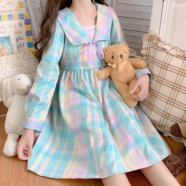Pastel Kawaii Aesthetic Long Sleeve Plaid  Dolly Dress