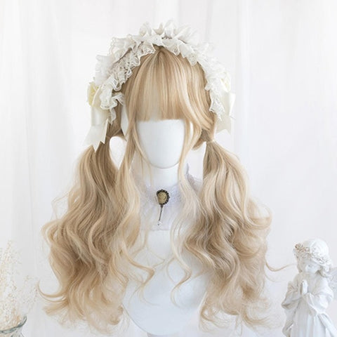 Winter Blond Long Wavy Cosplay Kawaii Lolita Wig with Bangs