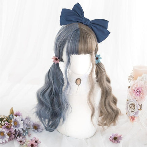 Blue Ash Long Wavy Cosplay Kawaii Lolita Wig with Bangs