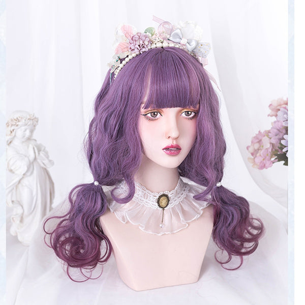 Twilight Sky Purple Ombre Curly Kawaii Cosplay Lolita Wig with Bangs