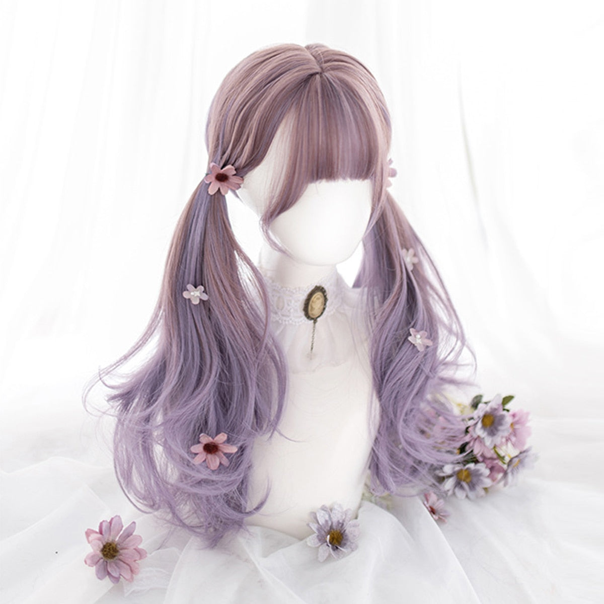 Iris Purple Ombre Long Kawaii Cosplay Lolita Wig with Bangs